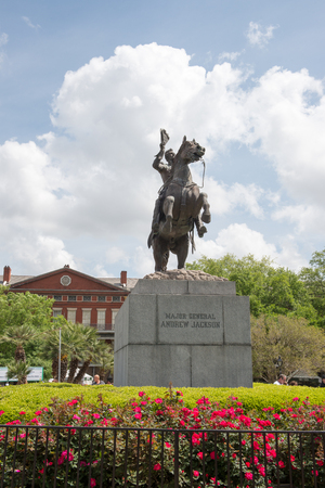 NEW ORLEANS, LA - APRIL 13: Statue of Andrew Jackson at the Jackson Square New Orleans on April 13, 2014 Editorial