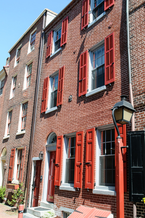 PHILADELPHIA, PA - MAY 14: The historic Old City in Philadelphia, Pennsylvania. Elfreths Alley, referred to as the nations oldest residential street, dating to 1702 on May 14, 2015 Editorial