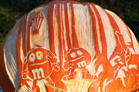 CHADDS FORD, PA - OCTOBER 26: M and M Candy Pumpkin at The Great Pumpkin Carve carving contest on October 26, 2013