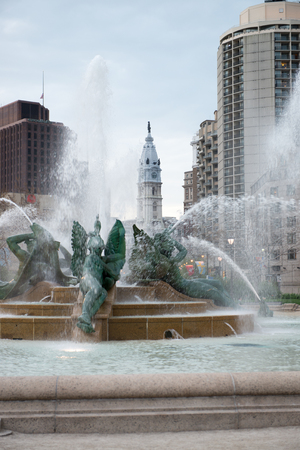 PHILADELPHIA, USA - APRIL 19: Swann Fountain in Logan Square on Benjamin Franklin Parkway in Center City Philadelphia on April 19, 2013. Adapting the tradition of a river god sculpture figures symbolize major streams, the Delaware, the Schuylkill, and the