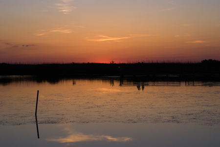 Sunset near Currituck Lighthouse in Outer Banks North Carolina