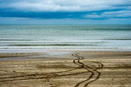Beach on overcast rainy day in Bettystown, Ireland Stock Photo
