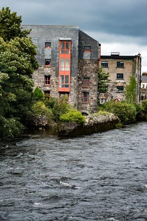irish culture: GALWAY, IRELAND - AUGUST 22, 2017: Architecture of city center of Galway Ireland
