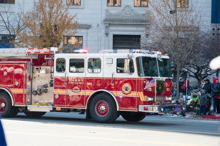 Philadelphia, PA - November 23, 2017: Fire Engine at Annual Thanksgiving Day Parade in Center City Philadelphia, PA