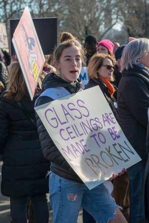 Philadelphia, Pennsylvania, USA - January 20, 2018: Thousands in Philadelphia unite in solidarity with the Womens March. Stok Fotoğraf - 97342945