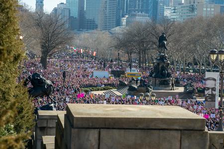 Philadelphia, Pennsylvania, USA - January 20, 2018: Thousands in Philadelphia unite in solidarity with the Womens March. Stok Fotoğraf - 97342969