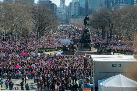 Philadelphia, Pennsylvania, USA - January 20, 2018: Thousands in Philadelphia unite in solidarity with the Womens March.