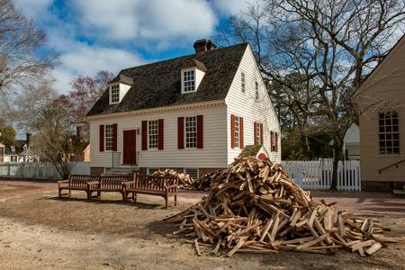 Williamsburg, Virginia - March 26, 2018: Historic houses and buildings in Williamsburg Virginia
