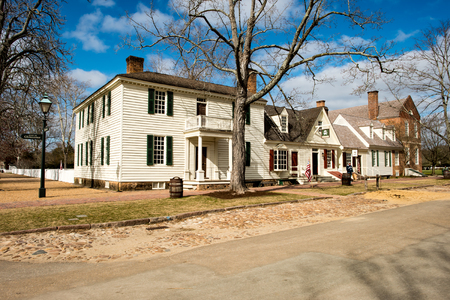 Williamsburg, Virginia - March 26, 2018: Historic houses and buildings in Williamsburg Virginia Editorial