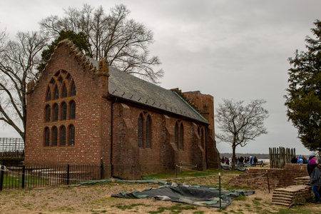 Jamestown, Virginia - March 27, 2018: Jamestown Memorial Church which was constructed in 1906