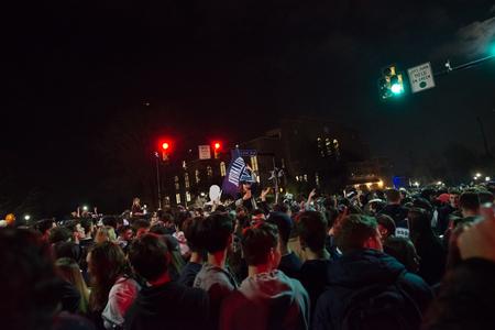 Villanova, Pennsylvania, USA. 2nd Apr, 2018. Students and fans celebrate Villanova University Mens Basketball team winning the NCAA championship