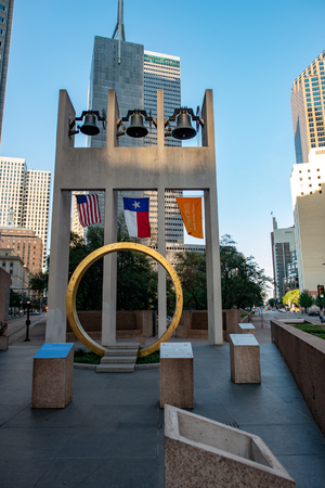 Dallas, Texas - May 7, 2018: Thanks-giving Square, in Dallas, Texas, hosts the non-denominational Thanks giving Chapel