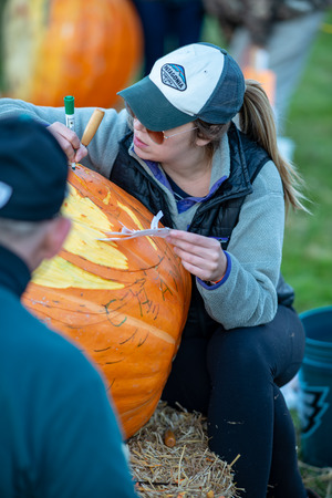 CHADDS FORD, PA - OCTOBER 18: Person carving pumpkin at The Great Pumpkin Carve carving contest on October 18, 2018 Editöryel