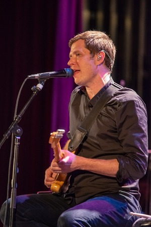 ITHACA, NY - NOVEMBER 4, 2018: Lead vocalist Guitarist Damian Kulash of the band OK Go performs on their Live Videos tour at the State Theatre of Ithaca