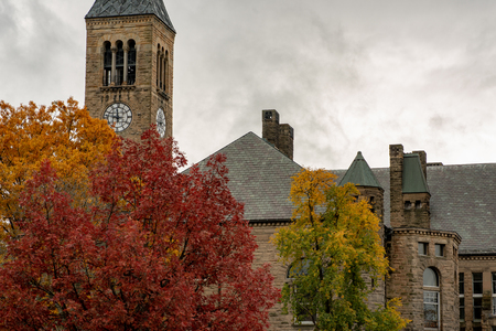 Buildings at Cornell University during peak fall time with autumn colors in Ithaca, New York Stok Fotoğraf
