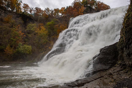 Ithaca Falls in the Finger Lakes region, Ithaca, New York. This is the last and largest of several waterfalls on Fall Creek.