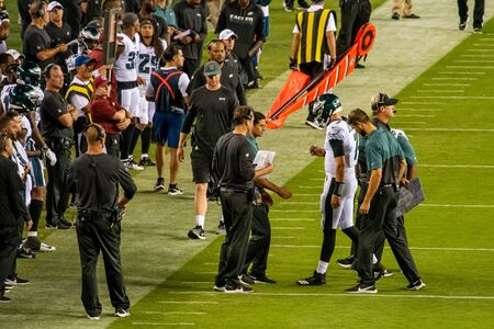 Philadelphia, PA - August 8, 2019: Philadelphia Eagles backup Quaterback Nate Sudfeld is injured with broken left wrist during their preseason opening game at Lincoln Financial Field