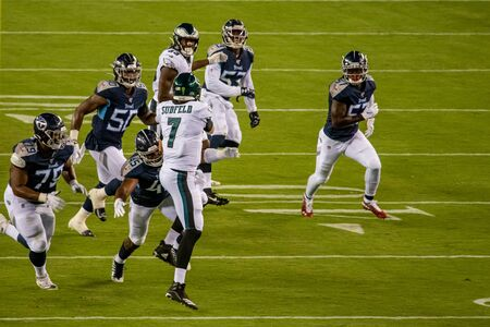 Philadelphia, PA - August 8, 2019: Philadelphia Eagles backup Quaterback Nate Sudfeld is injured with a broken left wrist during their pre-season opening game at Lincoln Financial Field against the Tennessee Titans.