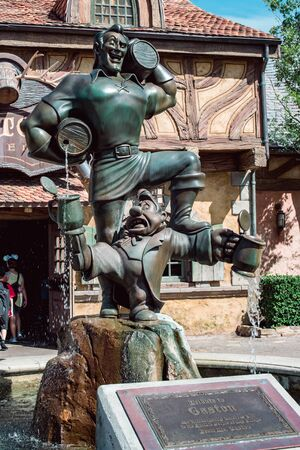 August 15, 2018 - Orlando, FL: View of Statue of Gaston at Gastons eatery in Walt Disney World