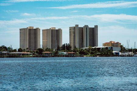 Daytona Beach, FL - August 14, 2018: View of large private homes along the bay