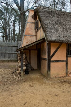 March 27, 2018 - Jamestown, VA: View of Historic Building replicas at the Jamestown Settlement fort