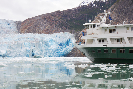 Alaska Cruise Ship by Glacier