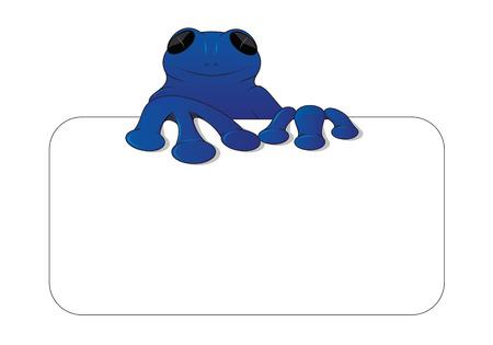 blue frog: Rana azul en tarjeta Vectores