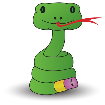 slither: a snake with a rubber tail. Illustration