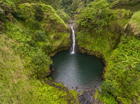 Aerial view of a waterfall on the road to Hana Maui Stock fotó