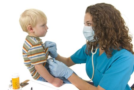 gets: Toddler gets breathing checked with stethoscope