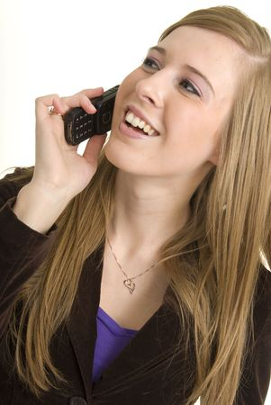 Stunning young business professional communicates on phone