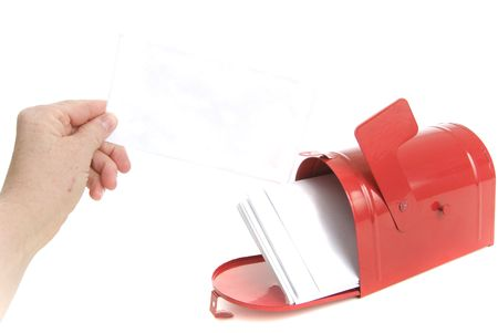 hand reached letter in mailbox