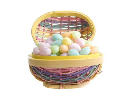 Pastel Easter Egg basket and candies photo