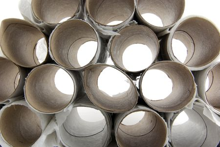 Close up of toilet paper rolls recycle theme