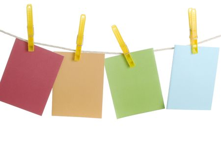 Colourful spring notecards hanging on clothesline