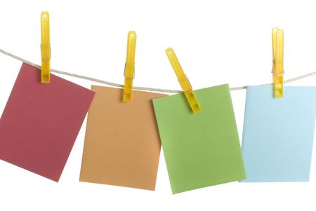 pin board: Colourful spring notecards hanging on clothesline