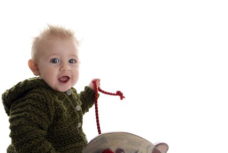 Baby rides rocking horse toy