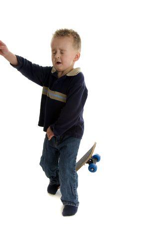 Toddler falls off skateboard