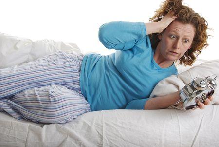 Missed alarm clock...woman late waking
