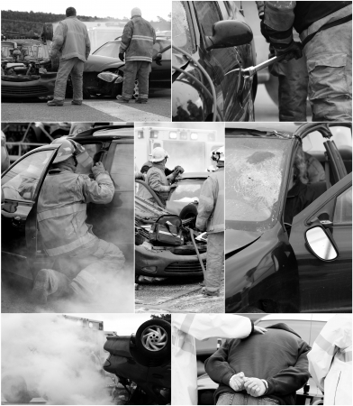 A collection of desaturated images from a car accident scene with wrecked cars, an injured victim, firemen, ambulance and the drunk driver being arrested.  photo