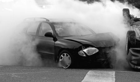 Sc�ne de l'accident de voiture