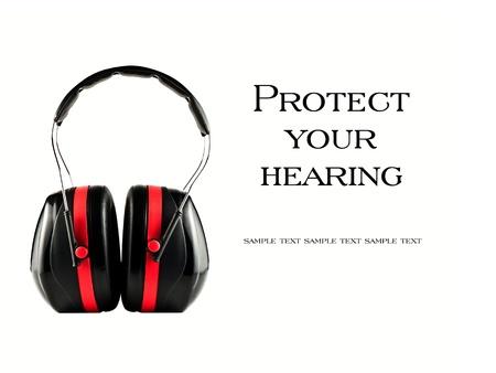 contaminacion acustica: Auriculares con aislamiento extremos Proteja su concepto audiencia sobre blanco