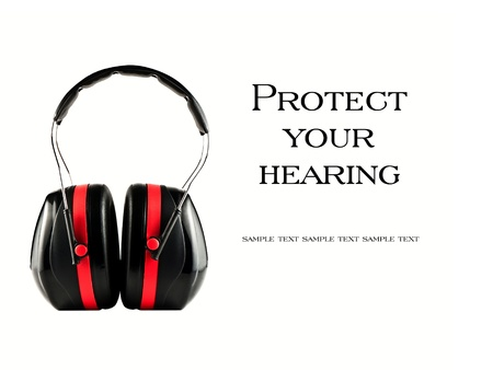 noise isolation: Extreme isolation headphones with  Protect your hearing  concept on white
