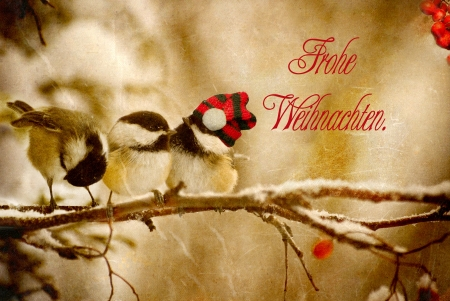 Vintage Christmas card with adorable chickadees in the snow with German language text-Frohliche Weihnachten