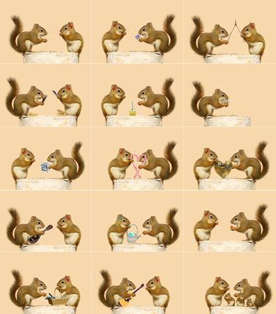 그들 가족에게 각각 전체 크기의 이미지를 시작으로 끝나는 두 개의 작은 다람쥐 유머 일련의 사건의 사랑 이야기는 어떤 머리 활하지 않고 있습니다