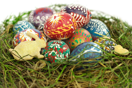public celebratory event: Cookie Easter bunny and Easter painted eggs Stock Photo