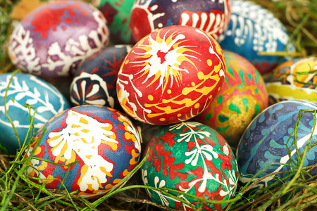 public celebratory event: Painted Easter eggs close-up