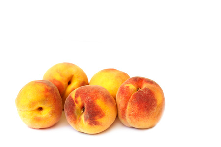 juicy: Juicy peaches on white background