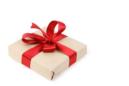 Christmas gift box on white background Banco de Imagens