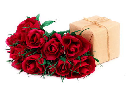 impassioned: Paper red roses and gift for Valentines Day Stock Photo